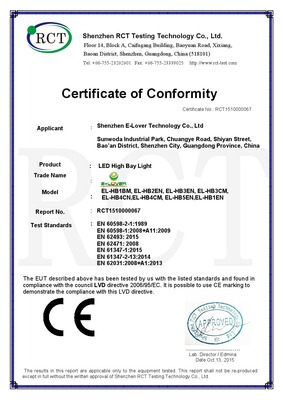 LED High Bay Light - LVD Certificate